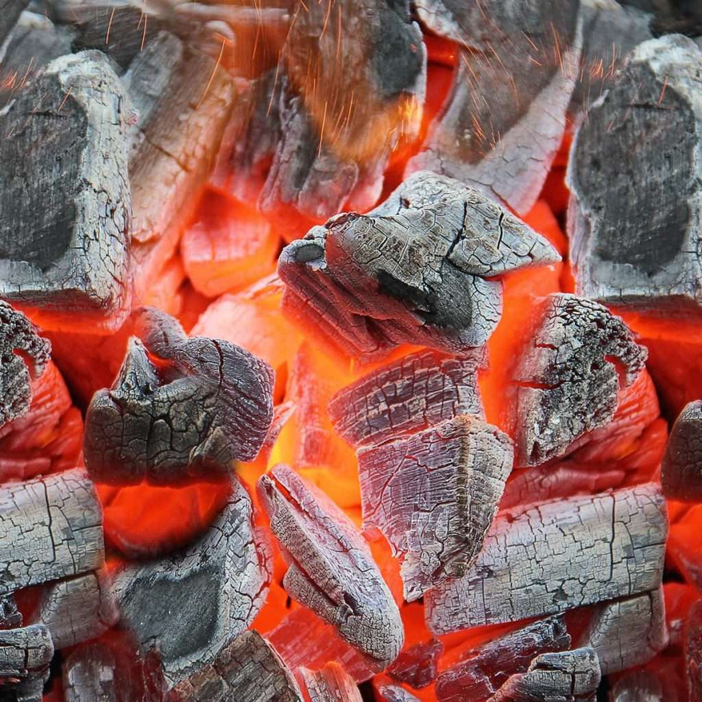 Glowing BBQ coals