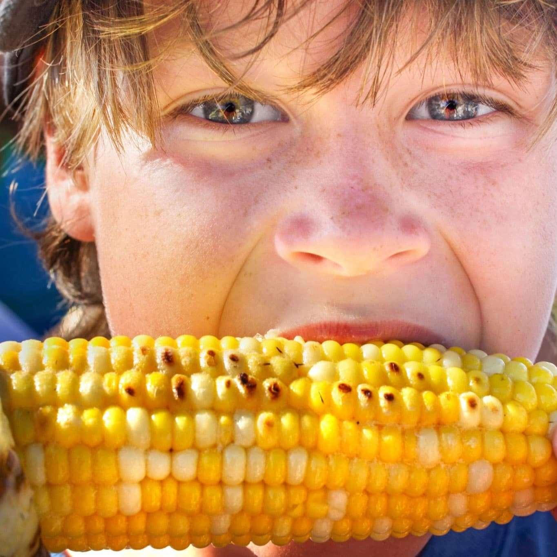 Boy eating corn on the cob
